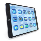 Tablet PC touchpad with 3d applications Stock Images