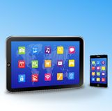 Tablet PC and touchscreen smartphone Royalty Free Stock Image