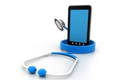 Tablet-PC und ein Stethoskop lizenzfreie abbildung