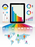 Tablet pc using infographics Royalty Free Stock Photos