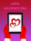 Tablet PC with Valentine's Day greeting Royalty Free Stock Images