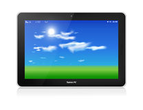Tablet PC. Vector. Horizontal. Blue sky background. Black glossy tablet computer in horizontal orientation of display, on white. Green grass and blue sky with stock illustration