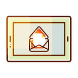 Tablet pc vector icon with e-mail message notification. Royalty Free Stock Image