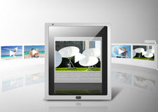 Tablet pc with video player app Royalty Free Stock Photo