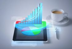 Tablet pc with virtual graph or chart Royalty Free Stock Photos