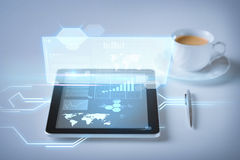 Tablet pc and virtual screen Royalty Free Stock Photo