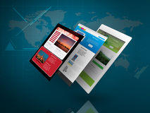Tablet PC with Web Page on Blue Technology Background Stock Images