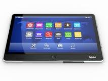 Tablet pc on white background. 3d. Black tablet pc on white background. 3d Royalty Free Stock Photography