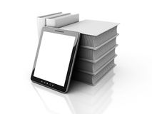 Tablet PC White Stack Pile Of White Books Royalty Free Stock Photos