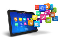 Tablet PC With Cloud Of Application Icons Royalty Free Stock Photography