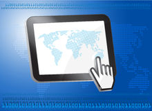 Tablet PC with world map Stock Images
