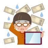 Tablet PC y fracaso femenino mayor de la inversión Imagenes de archivo