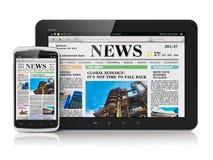 Tablet PC y smartphone con noticias de negocio ilustración del vector
