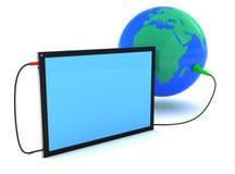 Tablet PC y tierra, icono aislado en el fondo blanco stock de ilustración