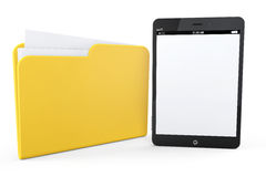 Tablet PC with yellow folder Royalty Free Stock Photos