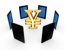 Tablet PCs around sign of yen. Stock Images