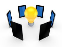 Tablet PCs around yellow lamp. Stock Photo