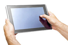 Tablet PCs in the hands of men Royalty Free Stock Photo