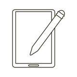 Tablet pen digital technology outline Stock Images