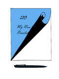 Tablet and Pen For Writing New Year Resolutions. Tablet and pen ready for writing down New Years Resolutions vector illustration
