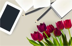 Tablet, pencil, tulips, top view table work royalty free stock images