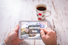 Tablet with personal loan page Royalty Free Stock Photography