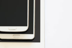 Tablet, phablet and a smartphone Stock Images