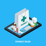 Tablet Pharmacy Online Concept. Online pharmacy conceptual composition with isometric images of tablet and various pharmaceutical drugs on screen top vector Stock Image