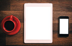 Tablet and phone blank screen Royalty Free Stock Image