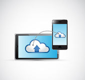 Tablet and phone cloud computing network Royalty Free Stock Photos