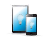 Tablet and phone idea lightbulb illustration Stock Photo