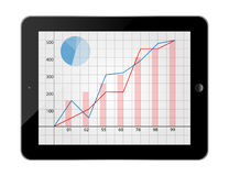 Tablet phone Show Bar Chart vector Royalty Free Stock Image