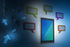 Tablet phone with speech bubble. In color background Royalty Free Stock Image