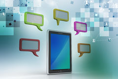 Tablet phone with speech bubble. In color background Royalty Free Stock Images