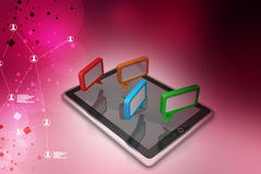Tablet phone with speech bubble. In color background Royalty Free Stock Photo