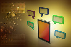Tablet phone with speech bubble. In color background Royalty Free Stock Photography
