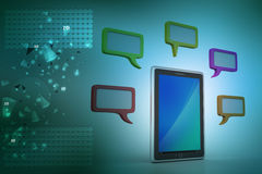 Tablet phone with speech bubble. In color background Royalty Free Stock Photos