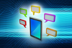 Tablet phone with speech bubble. In color background Stock Image