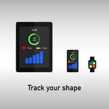 Tablet, phone and watch for fitness tracking Stock Photos