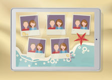 Tablet with pictures placeholders on the beach. Vector vector illustration