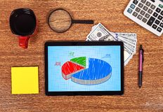 Tablet with pie chart Stock Photography