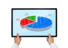 Tablet with pie graph Stock Photography