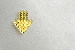 Tablet pills omega-3  in round capsules on white background.  copy space stock photo