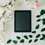 The tablet, pink rose flower, green leaves and sakura branch on the white wooden desk. Vintage colors Royalty Free Stock Photo