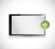 Tablet and plus button illustration Stock Photography