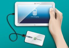 Tablet and Power Bank Stock Photography