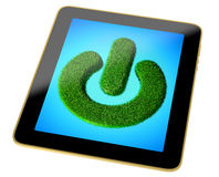 Tablet - Power Button made from grass on display. Tablet with a Power Button made from Grass on the display Stock Illustration