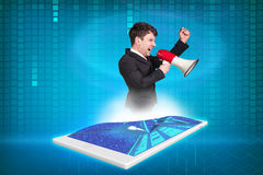 Tablet with projection businessman Stock Photos