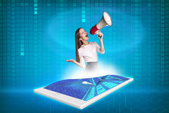 Tablet with projection businesswoman Royalty Free Stock Photography