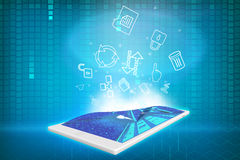 Tablet with projection icons Royalty Free Stock Photos